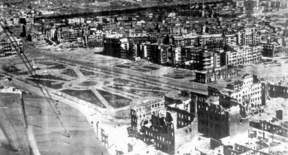 Площадь Павших Борцов, Сталинград, после боев 1942-43 гг.